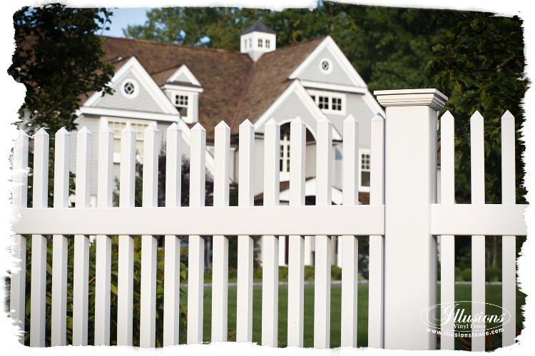 Matte Finish Patio White Illusions Vinyl Picket Fence